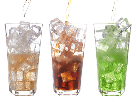 carbonation: glasses of sweet water with ice cubes