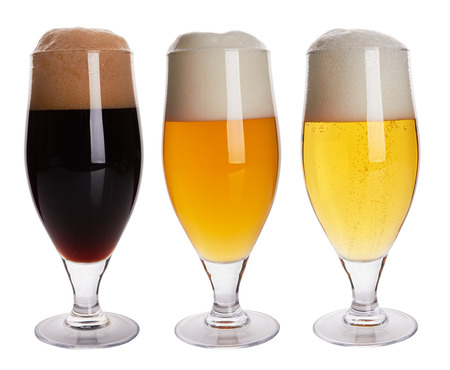 beers: Three glasses with different beers on a white background Stock Photo