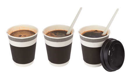 takeout: Opened take-out coffee isolated on a white background
