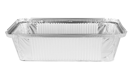 aluminum airplane: Foil tray for food on a white background