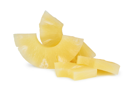 chunks: chunks of canned pineapple on white background
