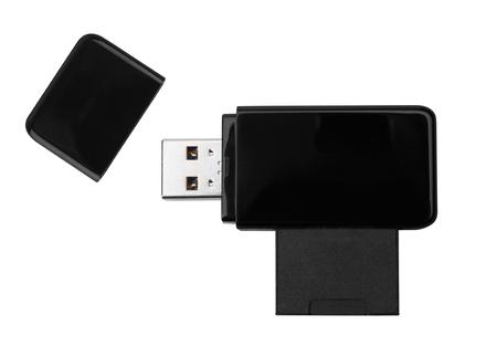 usb memory: Black USB memory stick isolated on white background