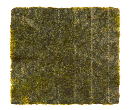 nori: Sheet of dried nori, dried seaweed isolated on white background