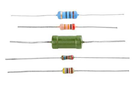 Different resistors isolated on a white background