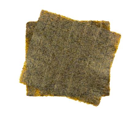 nori: Sheet of dried nori, seaweed isolated on white background