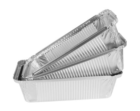 aluminum: Foil tray for food on a white background