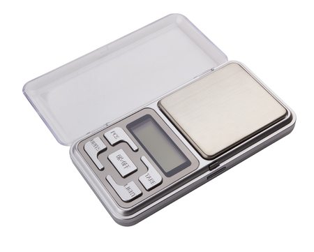 black gram: Portable electronic scale isolated on a white background