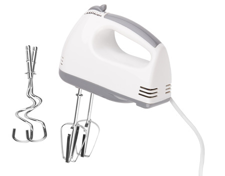 Electrical hand mixer and dishware isolated on a white Stock Photo
