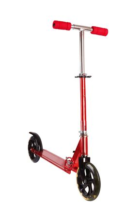 Red metal scooter isolated on white background Stock Photo