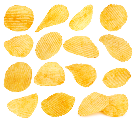 potato chips closeup isolated on a white background Stock Photo