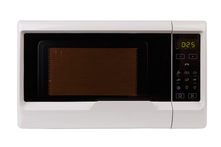 closed microwave isolated on a white background Imagens