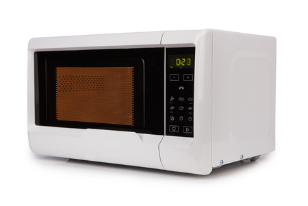 closed microwave isolated on a white background Banco de Imagens