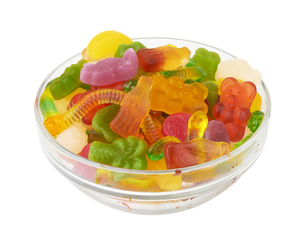 colorful neon gummy candies isolaten on white background Stockfoto - 116802329