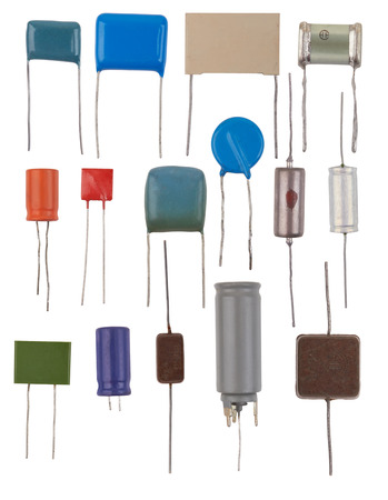 Capacitors types isolated on a white background 写真素材