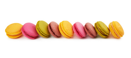 french colorful macarons isolated on white background Stock Photo