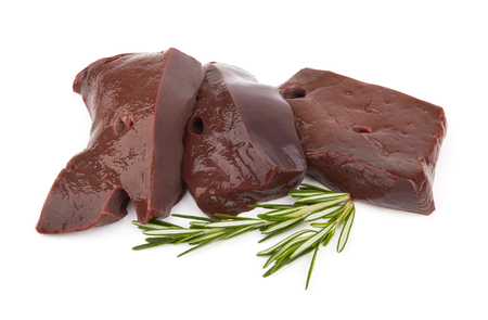 Raw liver fillet on а white background