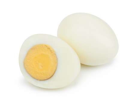 Shell boiled eggs isolated on white background