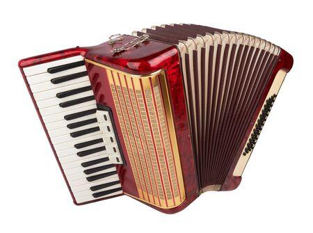 Retro akordeon na białym tle