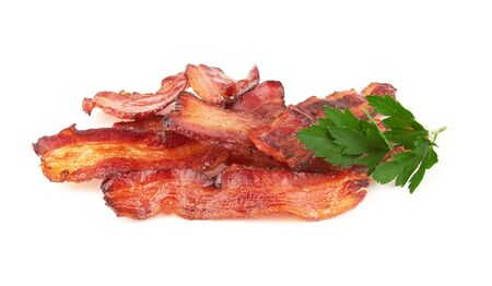 cooked slices of bacon isolated on white background