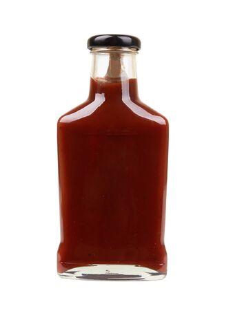 Bottle of tomato sauce isolated on white background