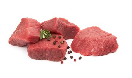 Fresh raw meat isolated on white background Фото со стока - 129826672