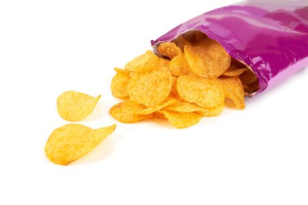 Potato chips bag isolated on white background 스톡 콘텐츠 - 131369262
