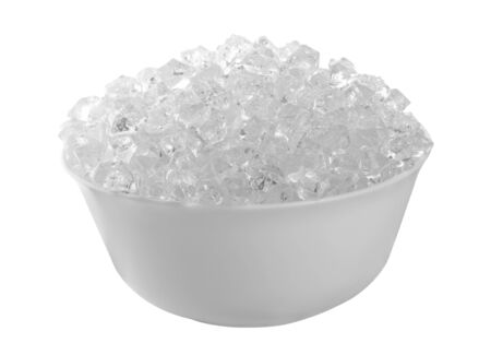 Ice cubes in bowl isolated on a white background