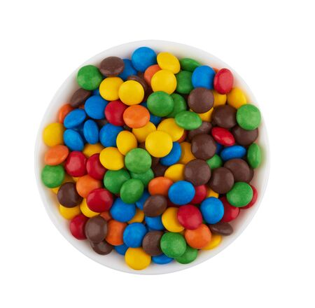 colorful chocolate buttons isolated on white background 免版税图像 - 132699990