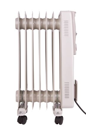 Oil electric radiator heater isolated on white background
