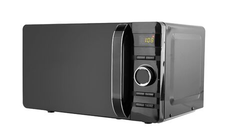 Black microwave isolated on a white background Imagens