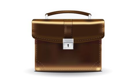 Brown Briefcase with lock and handle Vector
