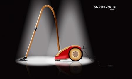 clean home: realistische stofzuiger op een zwarte achtergrond in het licht van de helderste projectoren
