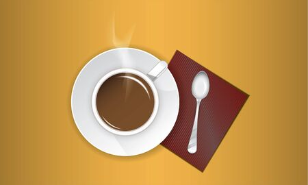 a cup of hot coffee with a spoon on a napkin Illustration