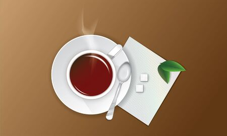 cup of tea with sugar, green leaves and a spoon on a napkin Vector
