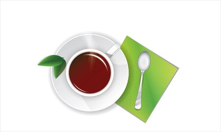 cup of tea with green leaves and a spoon on a napkin Illustration