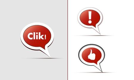 Ic�nes de couleur avec l'image d'un point d'exclamation, comme le badge et l'inscription Cliquez Illustration