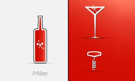 Ic�nes de la bouteille, le verre et tire-bouchon sur un fond rouge-gris avec des ombres