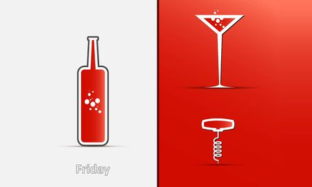 Icons of a bottle, glass and corkscrew on a red-gray background with shadows