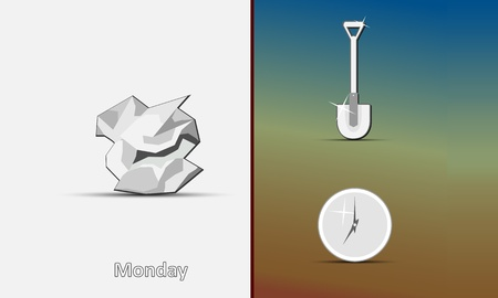 Symbols of Monday - icons of the crumpled paper, a shovel and hours on a gray-beige-brown background