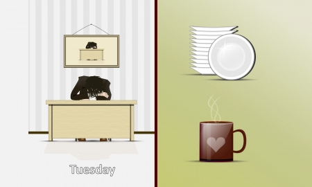 workplace stress: Illustration sleeping at the table of the person and an icon of a mug and plates Illustration