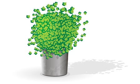 Green flower in a pot Stock Vector - 16113841