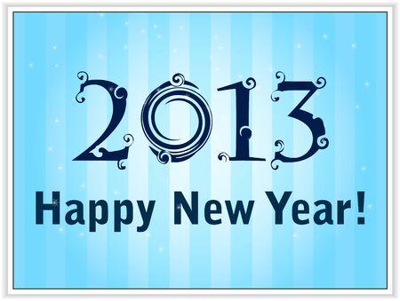 2013 Happy New Year de carte de ciel bleu