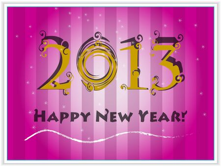 Happy New Years 2013 pink card  Illustration