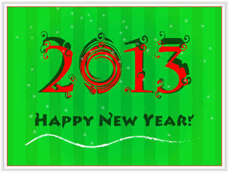 Happy New Year's 2013 green card Stock Vector - 16270604