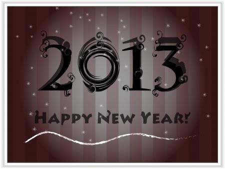 Happy New Year's 2013 black card  Stock Vector - 16270602