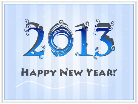 Happy New Year's 2013 blue white card  Stock Vector - 16270603