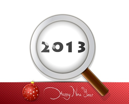 New Years card 2013 with a magnifying glass and a fir-tree ball