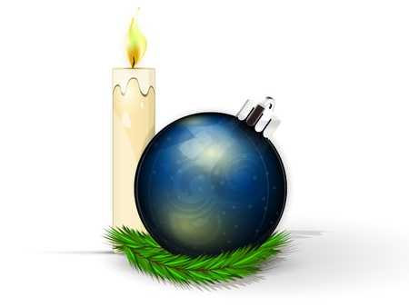 realistic dark blue fir-tree sphere with candie and fur-tree branch