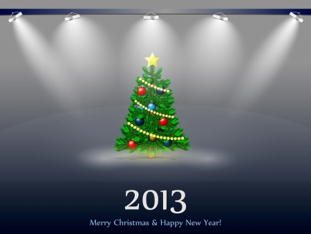 New Year tree 2013 in the light of searchlights Stock Vector - 16462765