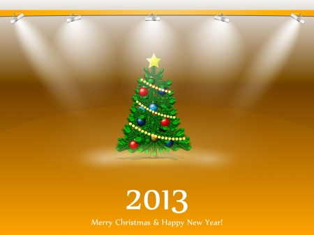 New Year tree 2013 in the light of searchlights Stock Vector - 16462761